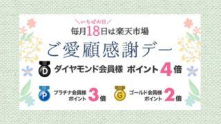 【毎月18日】楽天市場ご愛顧感謝デーはポイント最大4倍!5のつく日とどっちがお得?